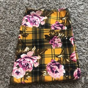 LuLaRoe | TC Yellow Plaid + Pink Floral Leggings